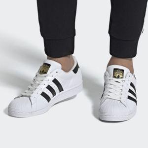 Adidas Unisex Super Star White Black Striped Shoes